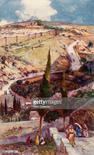 The North-East End of Jerusalem and Mizpah from the Mount of Olives', 1902. Mizpah was a city of the tribe of Benjamin referred to in the Hebrew...