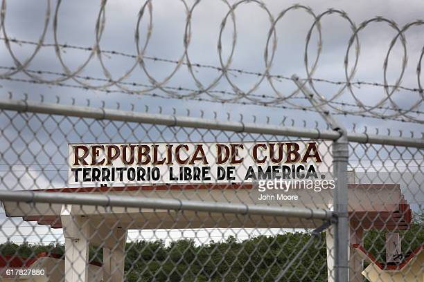 The Northeast Gate of the US Naval Station at Guantanamo stands as the only entrance into the rest of Cuba on October 23 2016 in Guantanamo Bay Cuba...