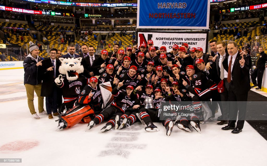 The Northeastern Huskies celebrate after a game against the Boston University Terriers during NCAA hockey in the championship game of the annual Beanpot Hockey Tournament at TD Garden on February 12, 2018 in Boston, Massachusetts. The Huskies won 5-2 to capture their first Beanpot in 30 years.