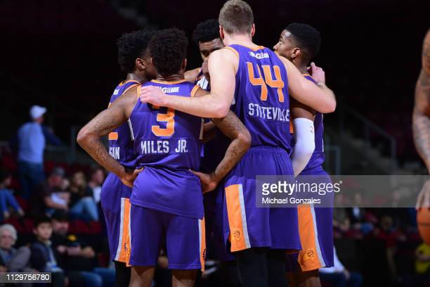 The Northern Arizona Suns huddle during the game against the Texas Legends during the NBA G League on March 10 2019 at the Findlay Toyota Center in...