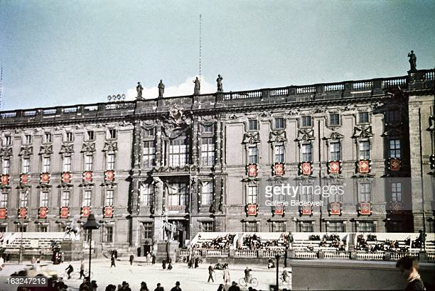 The Northern facade of the Berlin City Palace is decorated with swastika flags It is near the Lustgarten where Adolf Hitler chancellor of Germany...