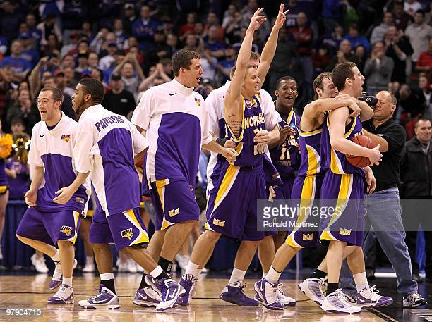The Northern Iowa Panthers celebrate after they won 69-67 against the Kansas Jayhawks during the second round of the 2010 NCAA men's basketball...
