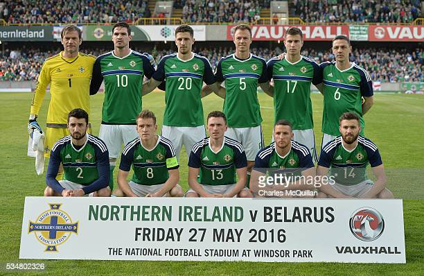 The Northern Ireland starting XI pictured before the international friendly game between Northern Ireland and Belarus on May 26 2016 in Belfast...