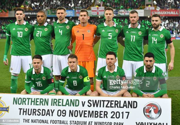The Northern Ireland starting XI pose for a team photograph before the FIFA 2018 World Cup Qualifier PlayOff first leg between Northern Ireland and...