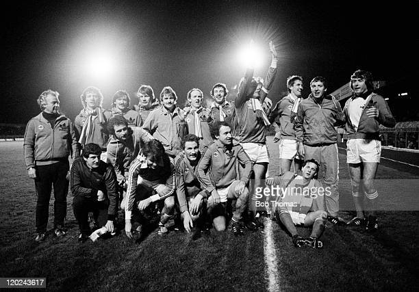The Northern Ireland team celebrate at Windsor Park in Belfast after their 10 victory over Israel had ensured qualification for the 1982 World Cup...