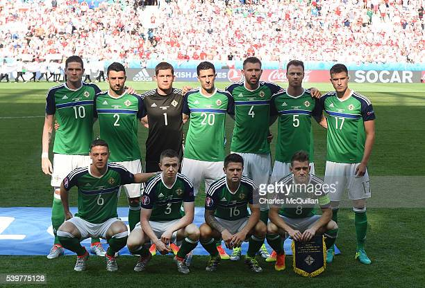 The Northern Ireland team line up before the UEFA EURO 2016 Group C match between Poland v Northern Ireland at Allianz Riviera Stadium on June 12...