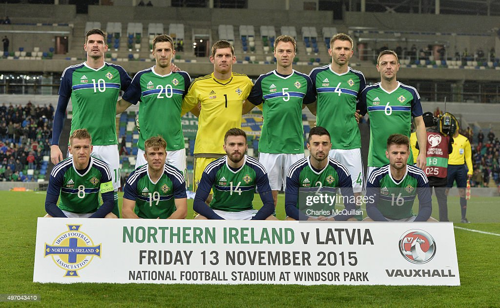 The Northern Ireland team pictured before the international football friendly between Northern Ireland and Latvia at Windsor Park on November 13, 2015 in Belfast, Northern Ireland.