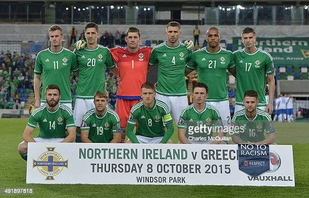 The Northern Ireland team pose for a team photograph before this evenings Euro 2016 Group F international football match against Greece at Windsor...