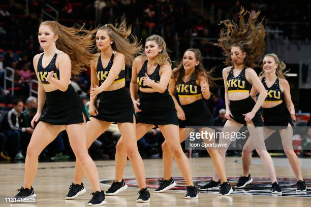 The Northern Kentucky dance team performs during the Horizon League Conference tournament championship game between the Wright State Raiders and the...