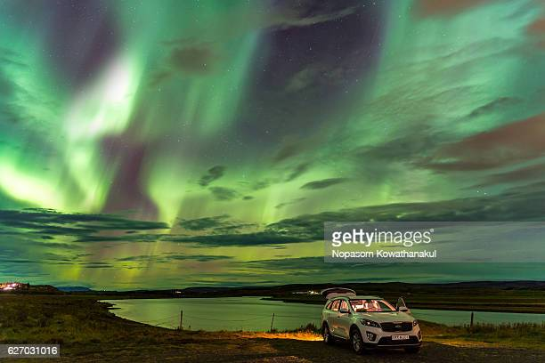 The northern light above a car