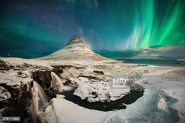 The northern Light at Kirkjufell, Iceland.
