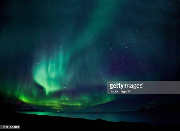 the northern lights aurora borealis in blue and green - aurora borealis stock pictures, royalty-free photos & images
