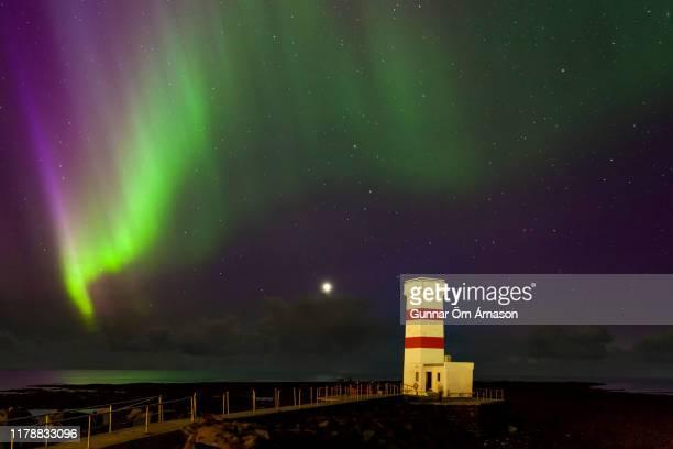the northern lights of the gardskagaviti - gunnar örn árnason stock pictures, royalty-free photos & images