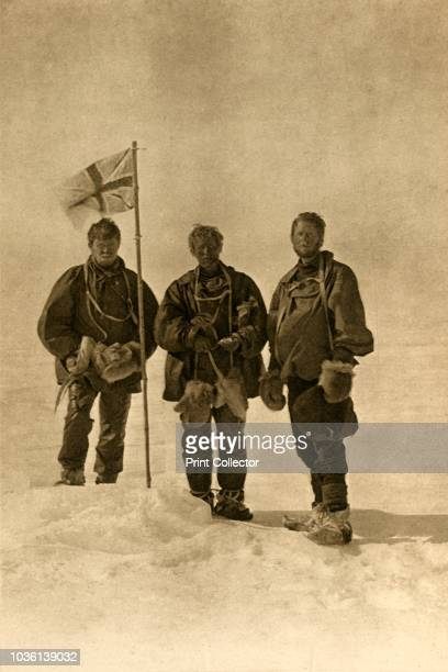 The Northern Party at the South Magnetic Pole from Left - Dr. Mackay, Professor David, Douglas Mawson', 17 January 1909. Anglo-Irish explorer Ernest...
