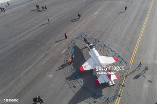 The Northrop F5 trainer aircraft is displayed during the 'Teknofest Istanbul' Aerospace and Technology Festival in Istanbul Turkey on September 20...
