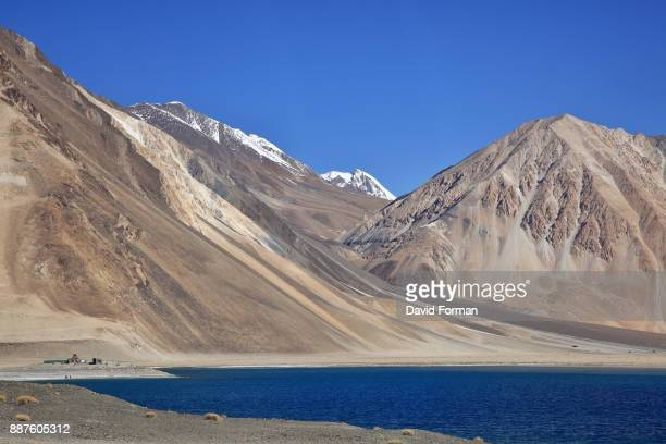 The north-west corner of Lake Pangong with surrounding mountains., Ladakh, India.