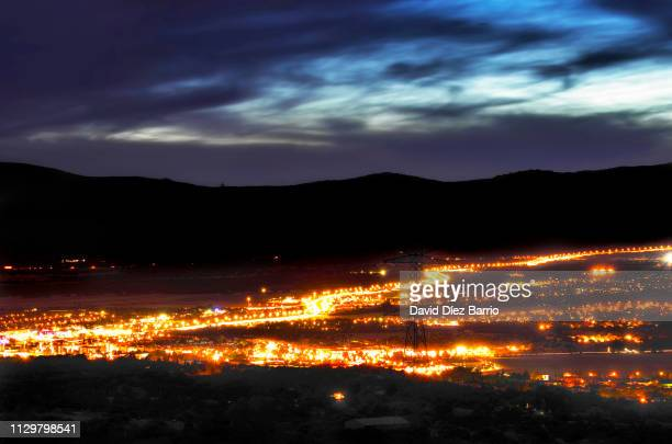 the northwest motorway or a-6 as it passes through the town of collado mediano - distrito central stock pictures, royalty-free photos & images