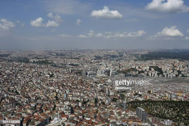 The northwestern suburbs stretch to the horizon seen from the Saphire Tower in the district of Levent Istanbul Turkey on Friday July 6 2018 Recep...