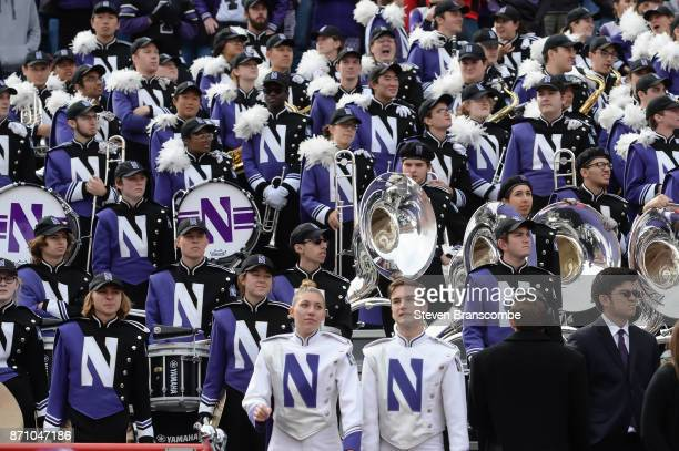 The Northwestern Wildcats band awaits the start of the game against the Nebraska Cornhuskers at Memorial Stadium on November 4 2017 in Lincoln...