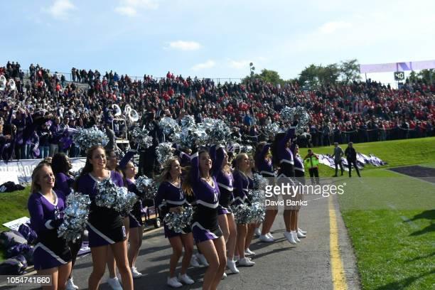 The Northwestern Wildcats celebrate their win against the Nebraska Cornhuskers on October 13 2018 at Ryan Field in Evanston Illinois Northwestern won...