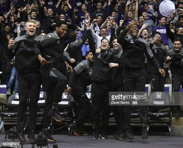 The Northwestern Wildcats react after being selected to play Vanderbilt during a NCAA Division I Men's Basketball Tournament Selection Show watch...