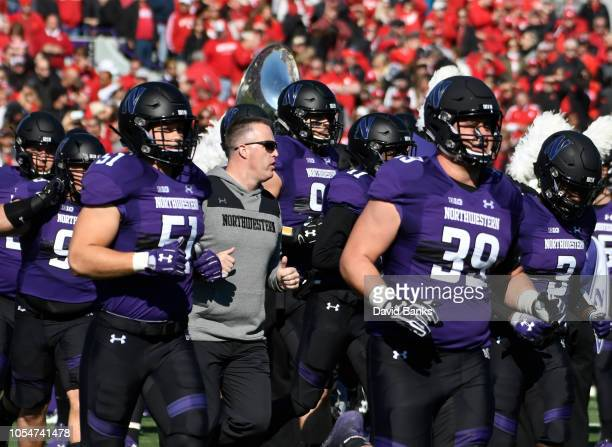 The Northwestern Wildcats take the field on October 13 2018 at Ryan Field in Evanston Illinois