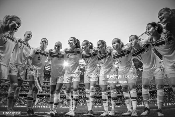 The Norway players form a team huddle prior to the 2019 FIFA Women's World Cup France group A match between France and Norway at Stade de Nice on...