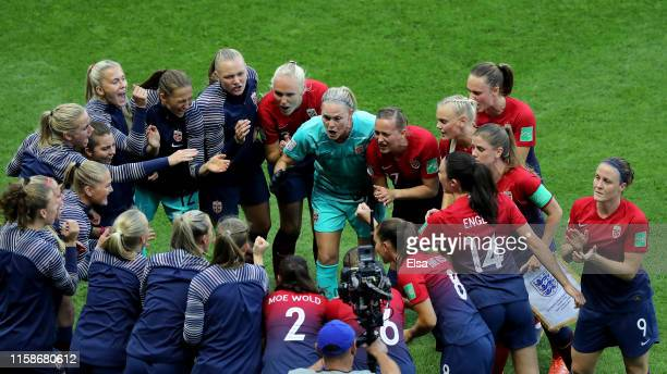 The Norway players form a team huddle prior to the 2019 FIFA Women's World Cup France Quarter Final match between Norway and England at Stade Oceane...