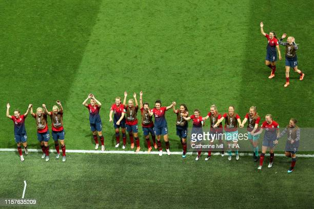 The Norway players show appreciation to their fans after the penalty shoot out during the 2019 FIFA Women's World Cup France Round Of 16 match...
