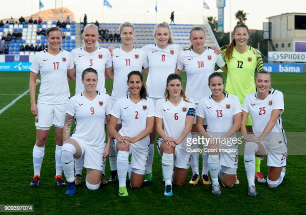 The Norway team line up for a photo prior to kick off during the international friendly match between Norway Women and Iceland Women at La Manga Club...