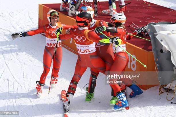 The Norway team with Leif Kristian NestvoldHaugen Kristin Lysdahl Sebastian FossSolevaag and Nina HaverLoeseth celebrate winning the bronze medal...
