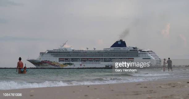 The Norwegian Cruise Line Norwegian Sky cruise ship sails out of its port on October 12 2018 in Miami Beach Florida