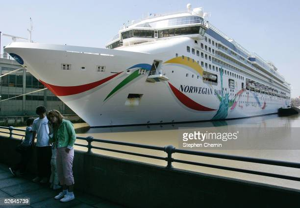 The Norwegian Dawn cruise ship is docked two days after being struck by a sevenstoryhigh wave April 18 2005 in New York City The ship was struck by a...