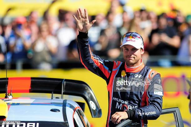 The Norwegian driver Andreas Mikkelsen of Hyundai Motorsport greeting the public assistants after finish the Rally Racc Catalunya Costa Daurada on...