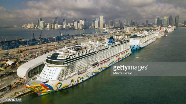 The Norwegian Encore cruise ship at the Port of Miami on Thursday, March 26, 2020.