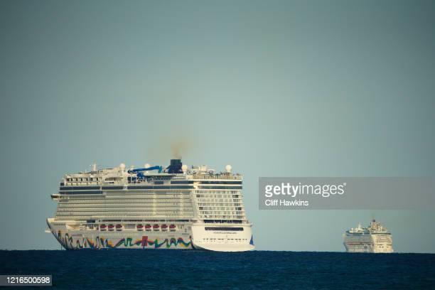 The Norwegian Encore cruise ship is seen on April 02 2020 in Miami Beach Florida Florida Gov Ron DeSantis signed a StayatHome order Wednesday in...