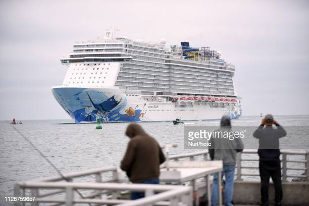The Norwegian Escape cruise ship enters Port Canaveral Florida on March 5 2019 after guests and crew were injured when a sudden extreme gust of wind...