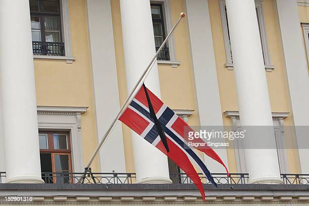 The Norwegian flag flies at half mast at the Royal Palace during the funeral of Her Highness Princess Ragnhild Mrs Lorentzen on September 28 2012 in...