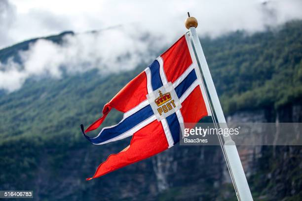 the norwegian flag on a boat - flagpole sitting stock photos and pictures