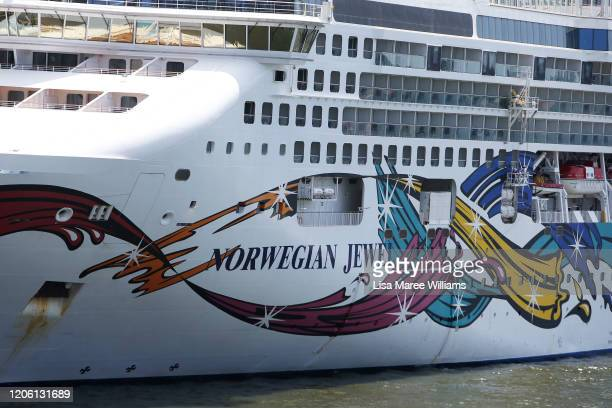 The Norwegian Jewel cruise ship is in lock down while health authorities test a man for Coronavirus on February 14 2020 in Sydney Australia The ship...