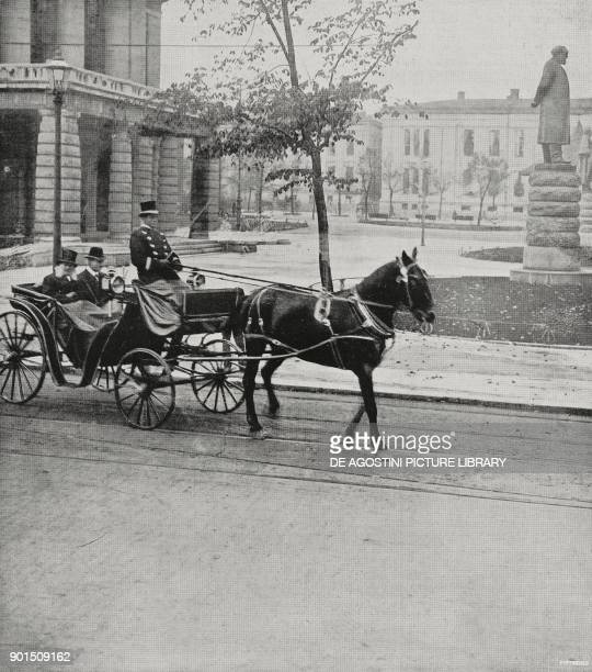 The Norwegian playwright Henrik Ibsen during a carriage ride in Oslo Norway from L'Illustrazione Italiana Year LV No 12 March 18 1928