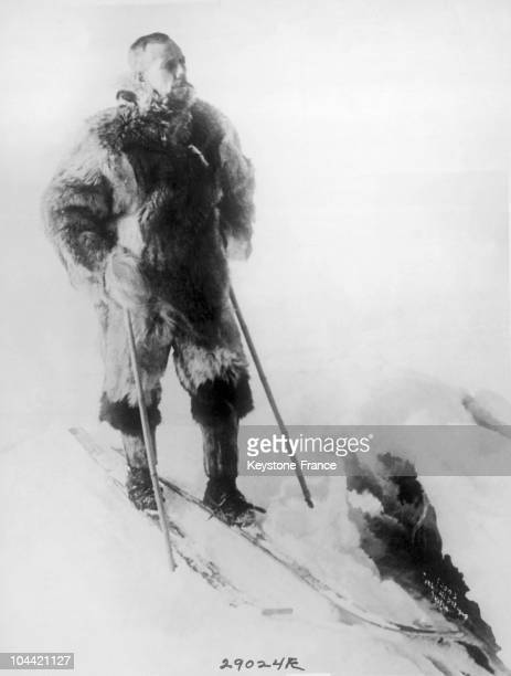 The Norwegian Roald Amundsen On Skis And Near A Crevice During His Expedition To The South Pole In 1911
