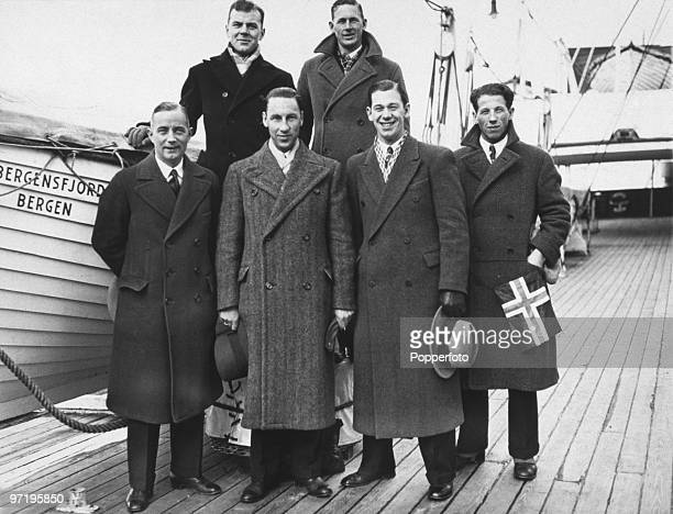 The Norwegian skating team arrives in New York on board the SS Bergenfjord before competing in the Winter Olympic Games at Lake Placid New York USA...