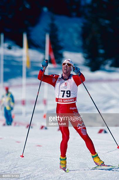 The Norwegian skier competes in a long distance 50 km ski event