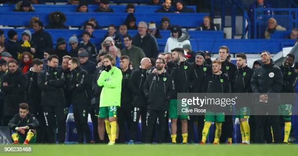The Norwich City players look on during the penalty shoot out during The Emirates FA Cup Third Round Replay between Chelsea and Norwich City at...