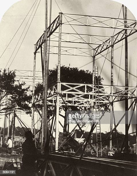 The Norwood end of the new Crystal Palace being erected in Sydenham, south London, after it was moved from its original site in Hyde Park.