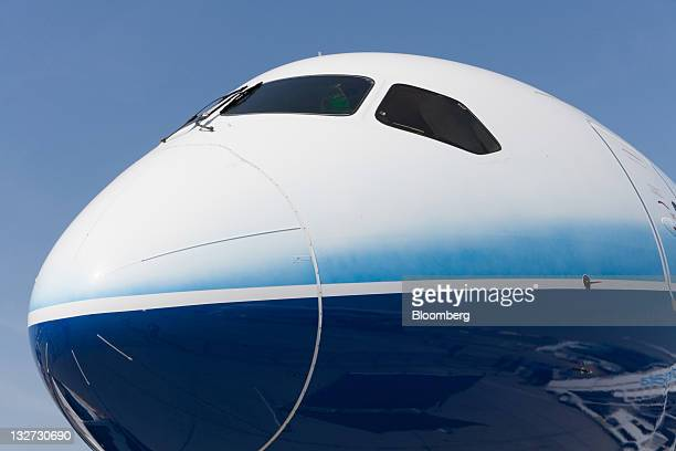 The nose and cockpit windows of a Boeing Co 787 Dreamliner aircraft are seen on display at the Dubai Air Show in Dubai United Arab Emirates on Sunday...