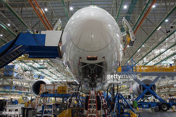 The nose of a 787 airplane is seen during the manufacturing process at the Boeing Co facility in Everett Washington US on Monday June 1 2015 Flow a...