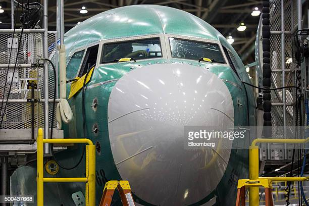 The nose of a Boeing Co 737 MAX airplane is seen on the production line at the company's manufacturing facility in Renton Washington US on Monday Dec...