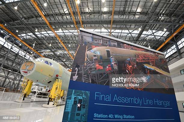 The nose of an Airbus A321 is seen in the final assembly line hangar on the eve of the inauguration of Airbus' first US manufacturing facility in...